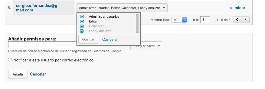 permisos google analytics
