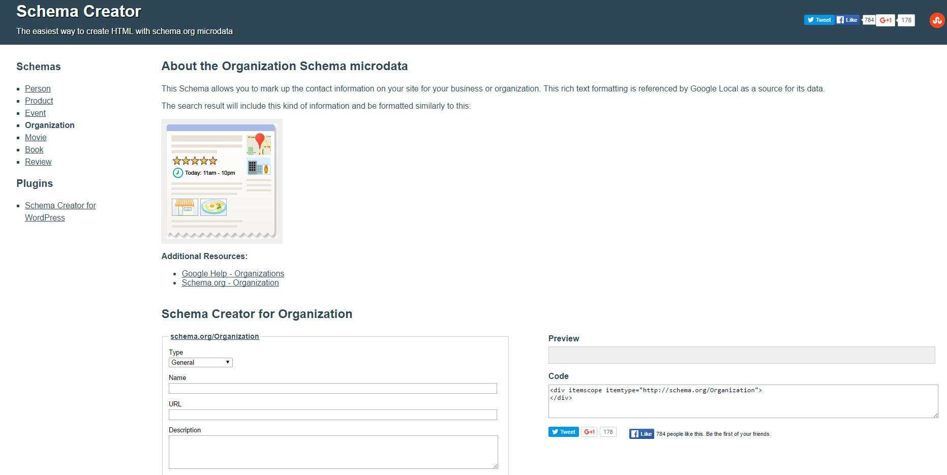 Schema Creator, analizar la información del sitio web