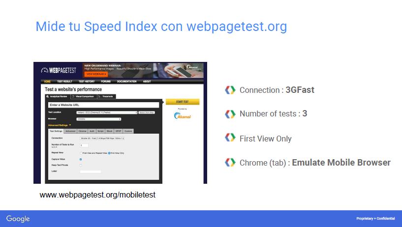 velocidad con webpagetest.org