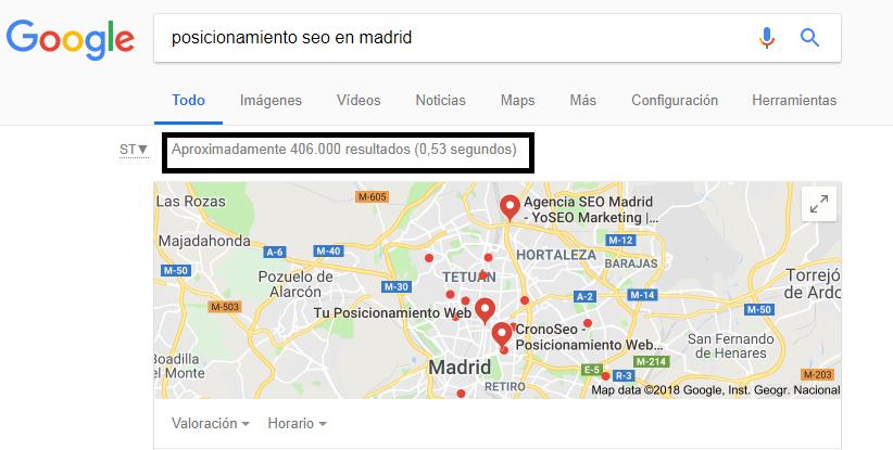 velocidad resultados en buscadores